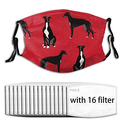 N/W Greyhound - Mascarilla facial reutilizable para perros y mascotas, lavable con filtro, máscara negra para la cara, cubierta para el polvo, máscara para hombres, mujeres y niños con filtros