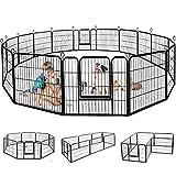 HLJ Portable Pet Playpen Exercise Dog Foldable Metal Pet Fence Yard Travel Camping Mechanical Bidet Toilet Seat Attachment Rim Bidet (24 inches 16 Panels)