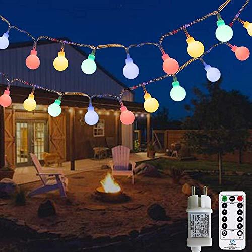 A-Generic 12 Metros 120 LED Cadena de luz de la Cadena Exterior de la Bombilla, con Transformador de 31V 8 Aguas navideñas Balcón y Sala de jardín Celebración de niños, etc. (Multicolor)