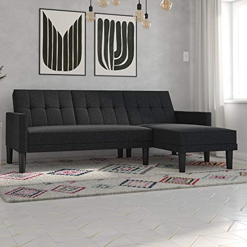 DHP Haven Small Space Sectional Sofa, Dark Gray Linen Futon,