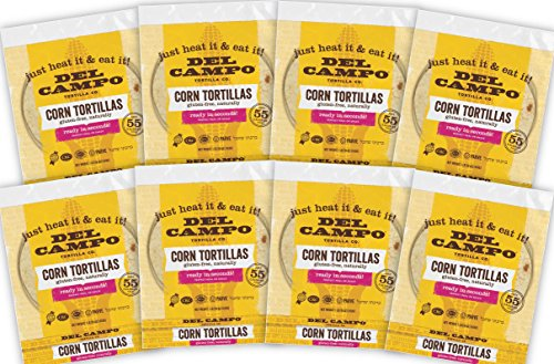 Del Campo Soft Corn Tortillas – 6 Inch Round 1Lb. Bag. 100% Natural, Gluten Free and All-Corn Authentic Mexican Food. Many Serving Options: Wraps, Tacos, Quesadillas or Burritos, Kosher. (8lb Case)