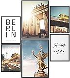Papierschmiede® Mood-Poster Set Berlin | Cuadros como decoración de Paredes | Living y Dormitorio | 2X 30x40cm y 4X 21x30cm para Marcos de IKEA | Alemania Puerta de Brandenburgo - sin Marco