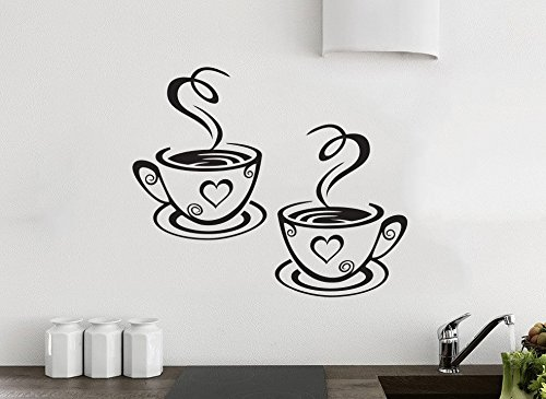 Vinilo Cocina 2 Tazas café Amor Decoración del Pub del Restaurante del Arte de la Etiqueta del Vinilo de la Etiqueta engomada del té de la Pared de la Cocina del Amor del café de 2 Tazas