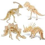 Puzzle 3D, puzle de madera en 3D, puzle para adultos, modelo de dinosaurio 3D, rompecabezas en 3D, rompecabezas para niños y adultos (4 unidades)