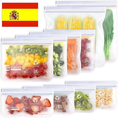 Bolsas de Silicona Reutilizables,10 Piezas Bolsas Congelar Reutilizable,Bolsas Reutilizables para Almacenamiento de Alimentos para Fruta Sándwiches Verduras,1.5mm Súper Grueso Sello Sin BPA (Blanco)