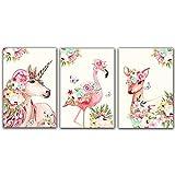 Pink Little Unicorn Flamingo Deer Wall Art for...