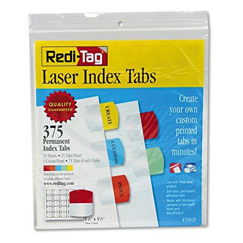 Redi-Tag 39020 Laser Printable Index Tabs 1 1/8 x 1 1/4 5 Colors 375/Pack