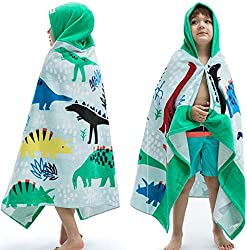 5. VOOVA & MOVAS Dinosaur Beach Towel with Hood for Kids