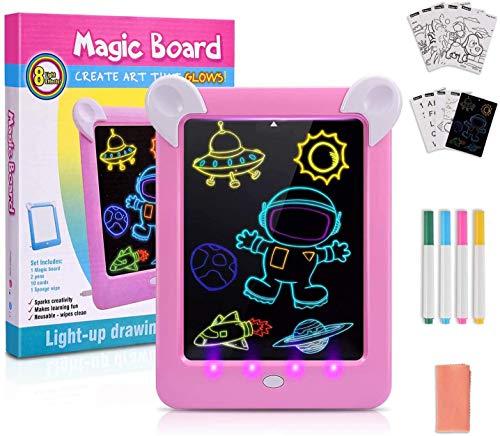 LCD Schreibtafel,11 Zoll Bunte Bildschirm Zeichenbrett Kinder,Digital Drawing Tablet for Kinder Spielzeug, Wiederholtes Schreiben Und ZeichnenPink