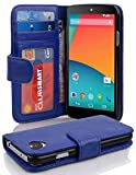 Cadorabo Book Case works with LG NEXUS 5 in NEPTUNE BLUE -