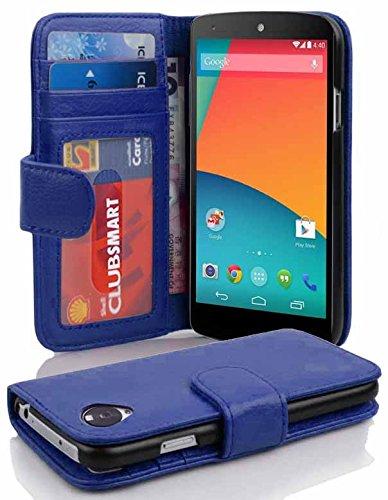 Cadorabo Funda Libro para LG Nexus 5 en Azul Real – Cubierta Proteccíon con Cierre Magnético e 3 Tarjeteros – Etui Case Cover Carcasa