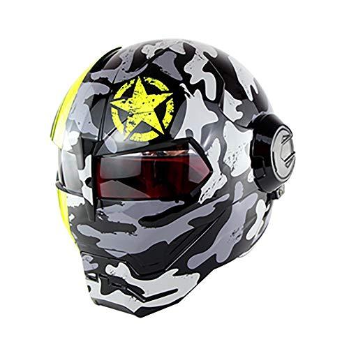 XYL Motorradhelm Full Face D.O.T-Zertifiziert Motocross Persönlichkeit Moto Flip Open Mask Harley Iron Man Roller Motorradhelm Camouflage,Gray,XL
