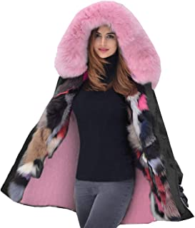 e54f8b6449 Aox Women Fashion Winter Coat with Faux Fur Hood Thicken Warm Casual Plus  Size Outdoor Jacket