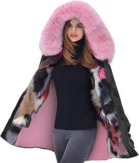 f3f7cc221b7b Aox Women Fashion Winter Coat with Faux Fur Hood Thicken Warm Casual Plus  Size Outdoor Jacket