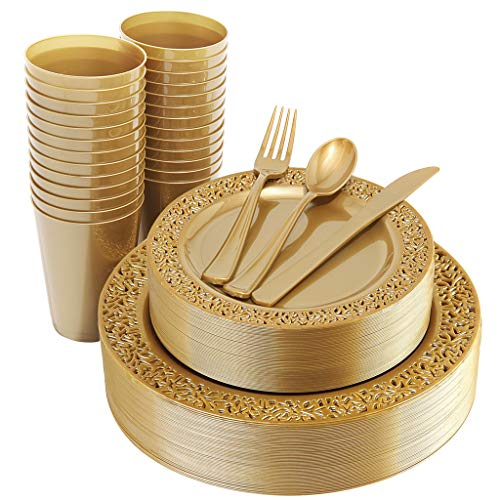 IOOOOO 150 Pieces Gold Plastic Plates Silverware and Gold Disposable Cups Lace Design Plates Includes 25 Dinner Plates 1025 25 Dessert Plates 7525 Forks 25 Knives 25 Spoons25 Cups 9 oz