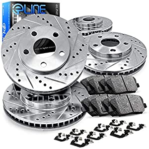 [COMPLETE KIT] eLine Drilled Slotted Brake Rotors Kit & Ceramic Pads CEC.6209202