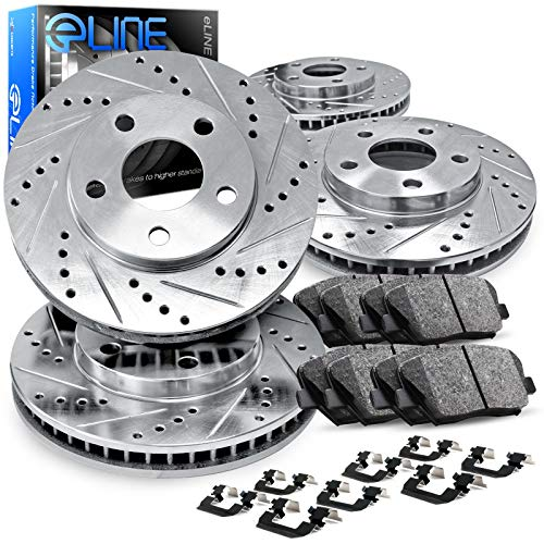 For 2011-2015 Kia Optima Front Rear Drill/Slot Brake Rotors Kit + Ceramic Brake Pads