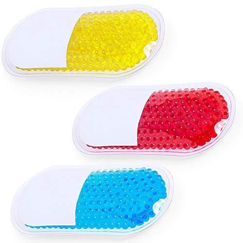 Natuiahan Wiederverwendbare Gel-Perlen-Pflaster für Kälte- und Wärmetherapie, 3 Stück, Blau, Rot und Gelb