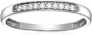 Vir Jewels 1/10 cttw Diamond Wedding Band in 10K White Gold 10 Stones Prong Set