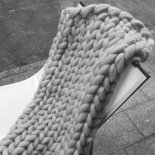 Queta Decken aus Merinowolle Hand Chunky Gestrickt Warme,Decke Dickes Garn handgewebt sehr dick Wolle grau 80 * 100cm