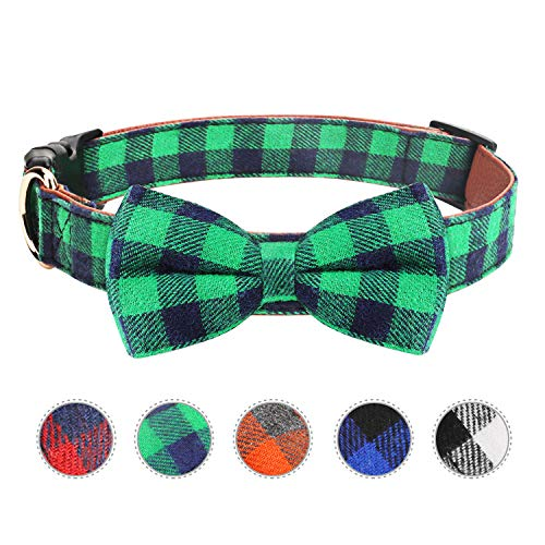 Dog Bow Tie, Vaburs Dog Cat Collar with Bow Tie Buckle Light Plaid Dog Collar for Dogs Cats Pets Soft Comfortable,Adjustable (M, Green) Review