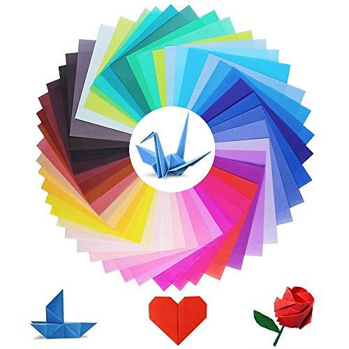 FOGAWA 50pz Papel para Papiroflexia Doble Cara 15x15cm Papel de Origami de Color Sólido Papeles Manualidades Colores para Niños Regalos Hojas para Proyectos de Artes y Oficios