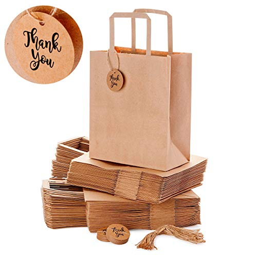 OSpecks Medium Brown Kraft Paper Shopping Bags Bulk with Handle and Thank You Tags for Retail Business, Merchandise, Goodies, Appreciation Gifts, Trade Fair, Craft Shows, Qty 50 Pcs, Size 8x4.75x10 In