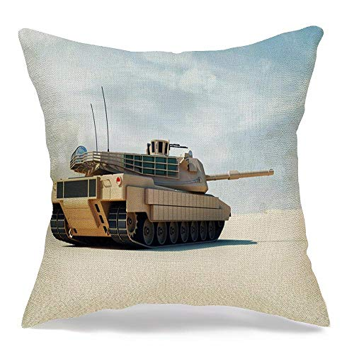 Pillowcase Cushion Case Main Abrams Heavy 3D Tank Barrel Desert Landscape Industrial Technology Dunes Armed Armor Armored Cozy Linen Square Decorative Throw Pillow Covers for Couch Bed 20x20 Inch