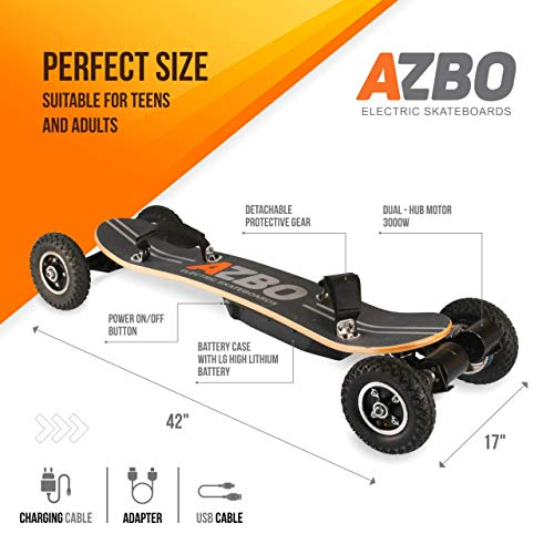 Off Road Electric Skateboard with Remote Control - 3300W Dual Motor - UL2272 Certified High Speed 25 MPH Motorized Mountain Y8 Longboard with Bindings for Cruising | LG Battery (Gray)