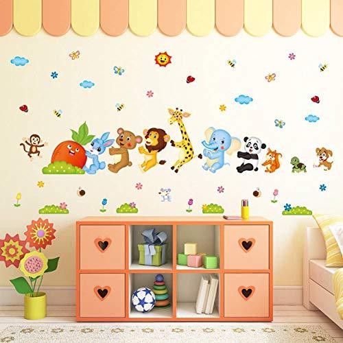 LGDBY Dieren Pull Radijs muurstickers voor kinderen Woonkamer Slaapkamer Klas Cartoon Verwijderbare Muurstickers (60 * 90cm)