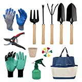 Cuwiny Garden Tools Set,12 Piece Heavy Duty Gardening Kit Gifts for Women or Men with:Tote Bag,Two Gloves,Scissors,Transplanter,Trowel,Rake,Weeder,Cultivator,Sprayer,Tags,Paper Cup,Planting Tools
