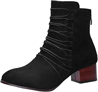 Women's Western Stretch Stacked Chunky Heel Ankle Bootie Vintage Pure Color Pointed Toe Zipper Boots by Dainzuy