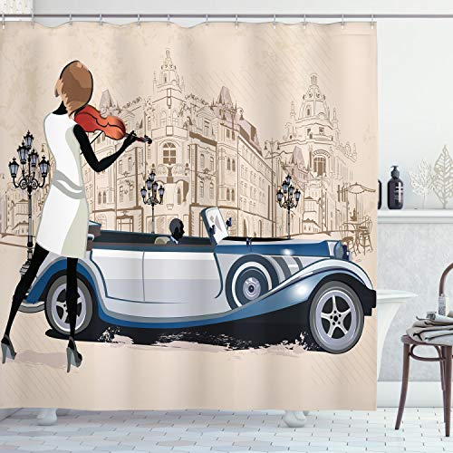 Ambesonne Urban Shower Curtain, Hand Drawn Illustration of a Street Musician and Retro Cars Old Buildings Vintage Design Work of Art, Cloth Fabric Bathroom Decor Set with Hooks, 75' Long, Beige Brown