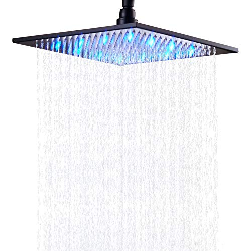 Senlesen Bathroom Rainfall 12 inch Square Top Shower Head with LED Light Changing Color Black