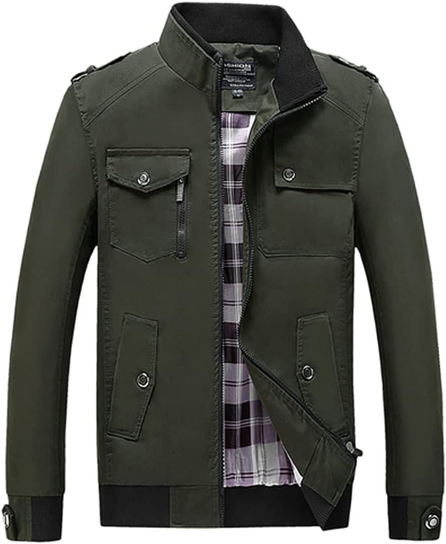 Max 88% OFF Men Stand Collar Ranking TOP16 Zipper Slim Streetwear Jacket Cotto Coat Casual