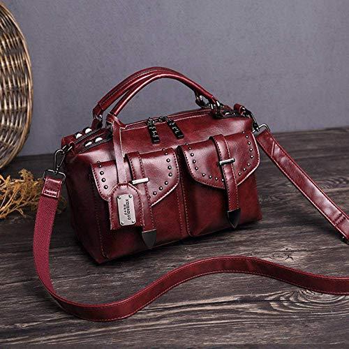 Damestassen aan de bovenkant, PU-leer Dameshandtassen Vrouwelijke handtas in effen kleur Damestassen Designer, bordeaux