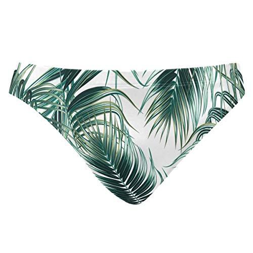 ZZKKO Sexy Badehose mit tropischen Dschungelblättern, Strand-Bikini für Herren XXX-Large mehrfarbig