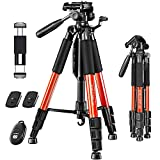 """JOILCAN 65""""Camera Tripod for Canon Nikon Lightweight Aluminum Travel DSLR Camera Stand 11 lbs Load with Universal Phone/Tablet Mount,2PC Quick Plates(Orange)"""