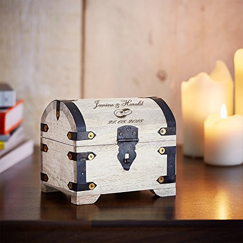 Casa Vivente Schatztruhe mit Gravur zur Hochzeit, Motiv Ringe, Personalisiert mit Namen und Datum, Schmuckkästchen aus weißem Holz, Geldgeschenke - 4