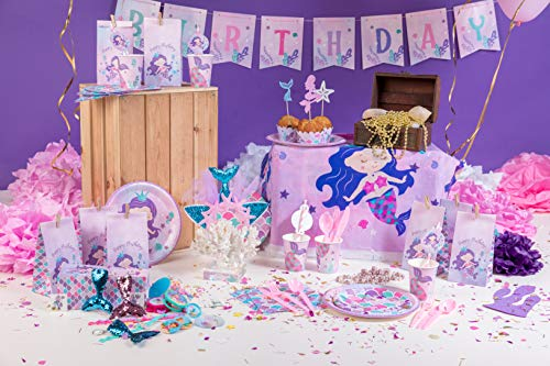Mermaid Party Supplies - Mermaid Birthday Decorations Set Happy Birthday Banner | Plates | Headband |Cupcake Wrappers & Toppers | Serves 16