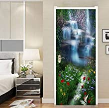 FLFK 3D Fantasy Waterfall Flowers Door Stickers Wall Mural Photo Decals for Home Bedroom Decor 30.3x78.7 inch