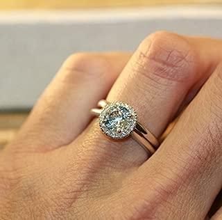 Balance-VS Diamond 7MM Round Aquamarine in 14K White Gold Halo Engagement Ring and 14k White Gold Wedding Band Bridal Set