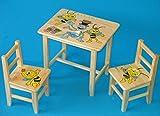 Set en bois table avec 2chaises pour chambre d'enfants. M32. Excellente idée cadeau.Complet en pin avec dessin à la main.