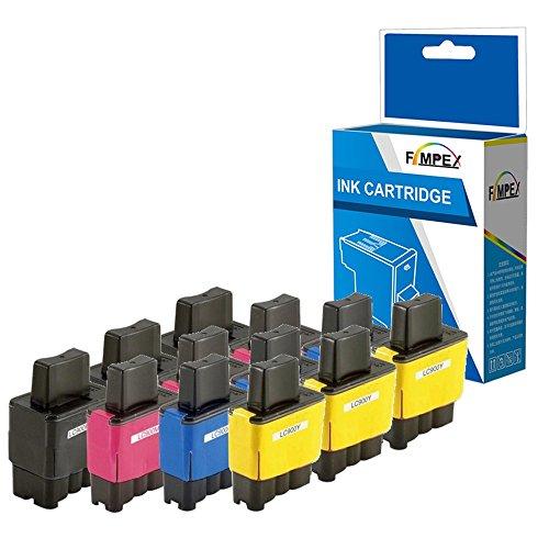 Fimpex Compatible Tinta Cartucho Reemplazo para Brother DCP-110C DCP-111C DCP-115C DCP-117C DCP-120C DCP-310 DCP-310CN DCP-315C DCP-315CN DCP-340CN DCP-340CW Fax-1835 LC900 (BK/C/M/Y, 12-Pack)