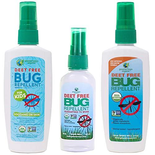 Greenerways Organic Bug Repellent Family Pack with Bug Repellent for Kids (4 oz), Bug Repellent (2 oz), and Bug Repellent (4 oz)