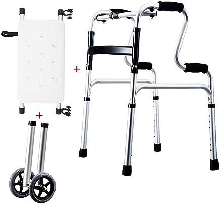 LHNLY-Andadores Estándares Andador Plegable Asiento y 2 Ruedas de Altura Ajustable | Caminantes estándar
