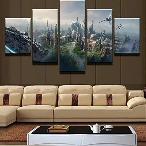 yuanjun Pegatinas De Pared 5 Unidades Lienzo Pintura Lienzo Cuadro Pintura Habitación Decoración Impresión Cartel Arte De La Pared Halcón Milenario