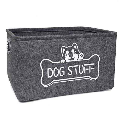 Vumdua Dog Toy Box, Dog Toy Storage Bin with Metal Handles - Collapsible Pet Supplies Storage Basket, Perfect for Organizing Pet Toys and Accessories