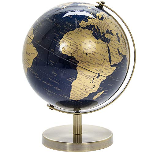 Lesser & Pavey LP44776 Globe terrestre Rotatif Vintage doré et Bleu avec Support en métal pour Votre Bureau/Bureau 19 cm