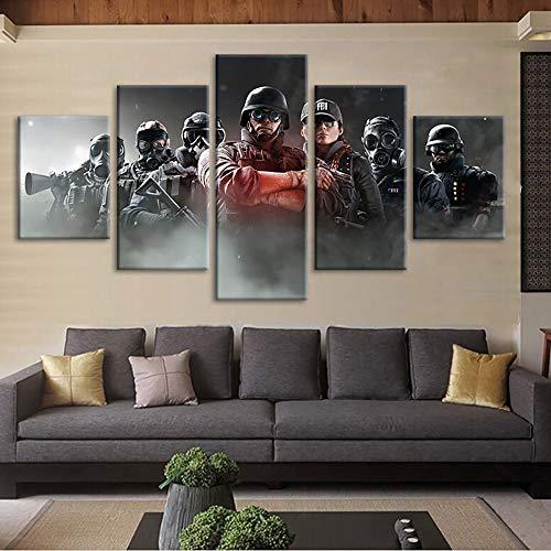 HIMFL Segeltuch HD-Drucke Rainbow Six Siege Game Bilder Poster Wohnkultur Wandbilder 5 Panel,B,20×35×2+20×45×2+20×55×1